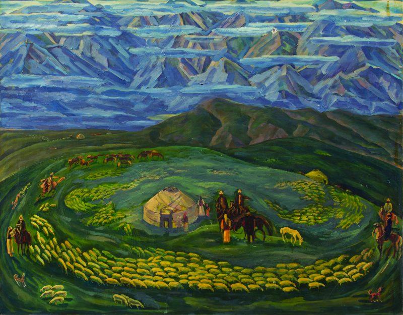 Mels Akynbekov(1942-1993). Shepherds. 1984 year. Oil on canvas, 110х139 cm