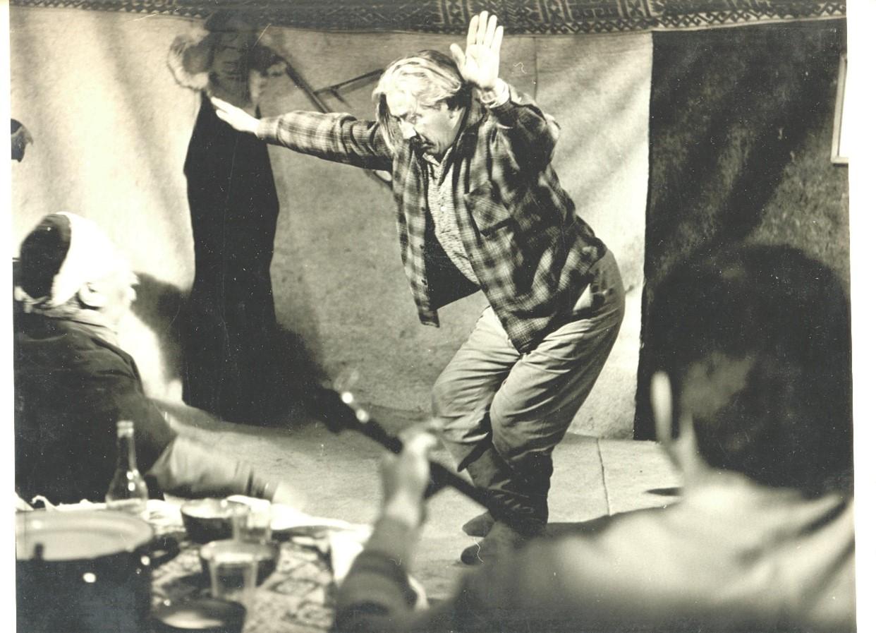 "Fragment from the movie ""Blue Route"". Aubakir Ismailov performing the dance ""Kara Zhorga"". 1968.From Anvara Sadykova's archives."