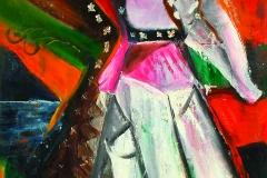 Kadyrzhan Turgunov (1950-1994). The Poetess. 1992 year. Oil on canavs. 150х73 cm