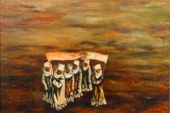 Satar Aitiev (Born 1945). For World Peace! Circa 1970-s. Oil on cardboard. 75х54 cm