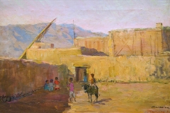 Evgeniya Maleina (1903-1984). In kishlak. 1956 year. Oil on canvas, 40х60 cm