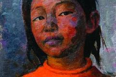 Semen Chuikov (1902-1980). Girl in orange. 1979 year. Oil on cardboard, 34.2х23 cm.
